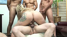 Tattooed blonde gets gangbanged in her hairy puss in front of cuckold hubby