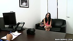 Petite teen babe tries to keep cool as she does a POV interview