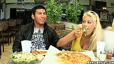Bridgette is eating lunch with this guy, but the truth is that what she wants to eat is cock!