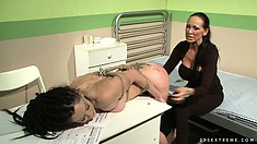Brunette teen in the hospital ward gets bound and tortured by mistress