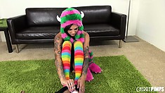 Tattooed hottie Bonnie Rotten isn't really rotten she just likes to play with herself