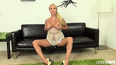 Astonishing blonde Mary Carey reveals her sexy legs, huge boobs and spicy ass