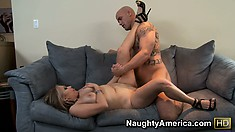 Big tit blonde Sasha Sky eats his rod and gets drilled leg up on the couch