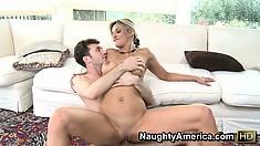 Klarisa Leone riding his cock blows him then gets fucked again