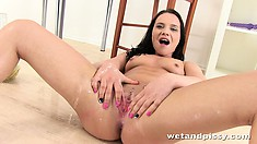 She toys her twat and sticks a dildo up her fine ass butthole