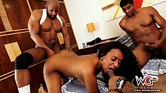 With a huge cock down her throat, the ebony hottie enjoys a deep double penetration