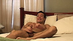Lusty Marco Mendoza plays with himself and his thick jackhammer