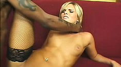 Striking blonde in fishnet stockings McKenzie Pierce knows her way around a black dick