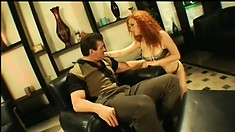 First he teases his redheaded friend then lifts her in a standing 69