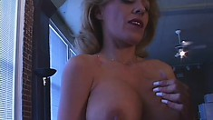 Stacked blonde cougar Sammie Sparks enjoys the sybian before getting fucked hard