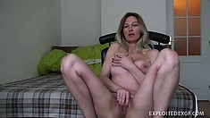 Busty blonde cougar with a fabulous ass Vanessa feeds her passion for solo pleasure