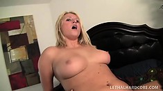 Sexy blonde goes interracial and chews his big black before he pumps her hole