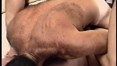 Tanned gay bear sucks his buddy hard and sticks cock up his ass
