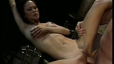 Asian hottie with big tits Mia Smiles spreads her slim legs to get pounded deep