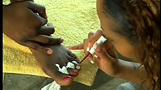 Horny black babes with a foot fetish pleasure each other's cunt