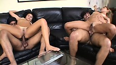 Latina cuties get stretched out by a pair of massive members