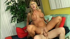 Horny cougar Morgan Ray needs a good stuffing from a stiff sausage