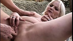 Mature blonde plumpers get frisky together in their backyard