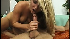 Naughty young blonde is eager to ride her man's cock to completion