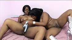 Two pussy-hungry lesbians make each other come with a double-sided dildo