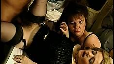 Hung stallion enjoys pounding two curvy midgets' wet pussies