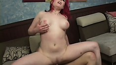 Redheaded step-mom goes for her new son and gives him a howdy do