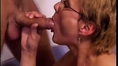 Luscious mature woman has two young studs deeply drilling her holes