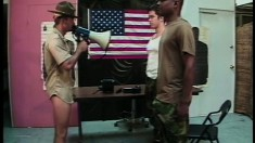 Dirty officer orders the new soldiers to strip down and clean his cock