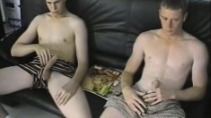 Horny gay dudes line up to stroke on their big fat cocks together