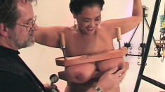 Dirty Asian slave takes some cruel punishment from her master