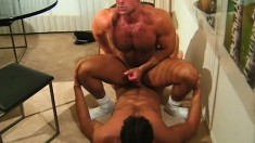 Hot navy guy bends over and gets his butt hole pounded from behind