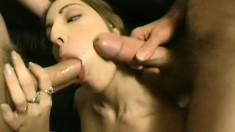Charming brunette cheerleader gets her tight holes pounded hard at the same time