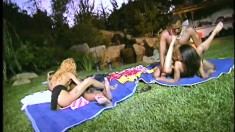 A group of horny sex addicts get nasty in an outdoor fuckfest