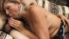 Nasty MILF spreads her legs wide to take this big dick balls deep