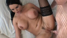 Bodacious brunette babe Angelica Sin yelps in delight as he delivers his dick in her derriere