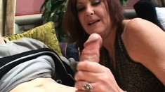 Decent long-haired courtesan with sagging bristols gets naked and sucks cock