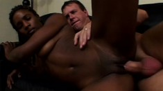 Naughty black cock-squeeze is great at showing her man a good time