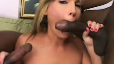 Two horny black Romeos take turns on this slutty blonde's ass