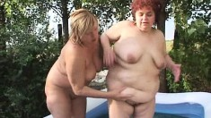 leave it to a pair of fat hoochie mamas to get dirty in a pool