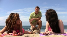 Dirty Young Brunette Lets A Guy Shove It Up Her Butt While On The Beach