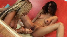 Buxom blonde mom engages in lesbian sex with a gorgeous brunette teen