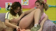 Pretty young girls enjoy the pleasures that lesbian sex has to offer