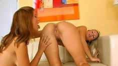 Gorgeous brunette and blonde combo get to work on a mutual orgasm