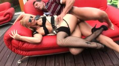 Sexy Cathy Campbell has some pussy-drilling action with a stud