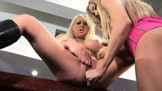 Big tit blonde Candy Manson gets her cunt toyed by her girlfriend