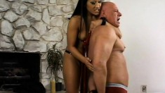 Mistress Christina Aguchi makes her old slave bend to her wishes