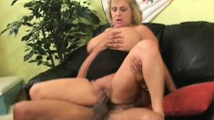 Busty mature woman can't get enough of this stud's hard pink oboe