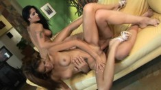 Ravishing girls taste each other's cunts and take turns on a big dick