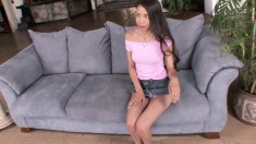 Desirable Latina with perky boobs and sexy long legs gets banged hard