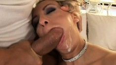 Desirable blonde in black stockings expresses her passion for anal sex